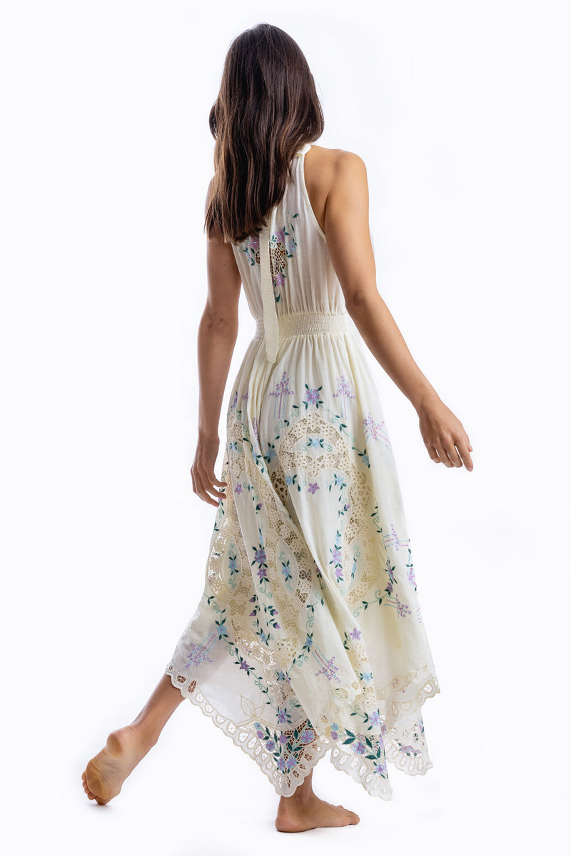 Once Upon A Song - Halter embroidered maxi dress in Transparent Yellow