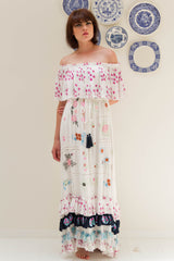 FILLYBOO - 'PATCHWORK POPPY' - OFF-SHOULDER MAXI DRESS