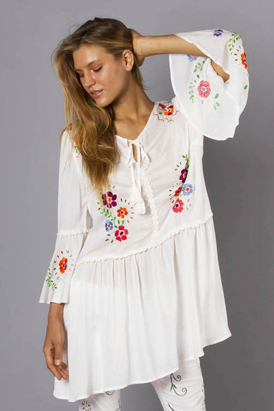 FILLYBOO - 'PEACE TRAIN' TUNIC - IVORY
