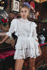 FILLYBOO - 'PENZANCE' - HANDMADE EMBROIDERED MINI DRESS - IVORY