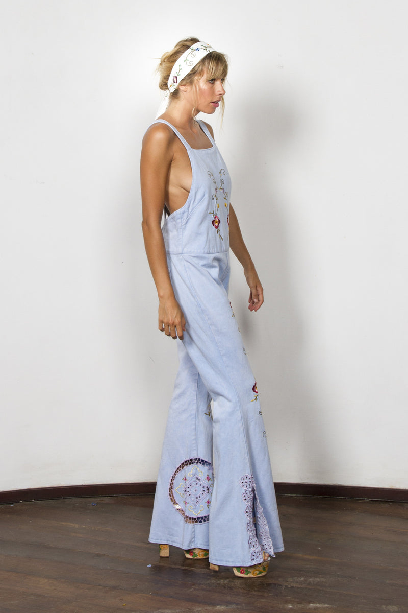 'AT THE HEART OF IT' PINAFORE OVERALLS - CHAMBRAY BLUE STONE WASH.