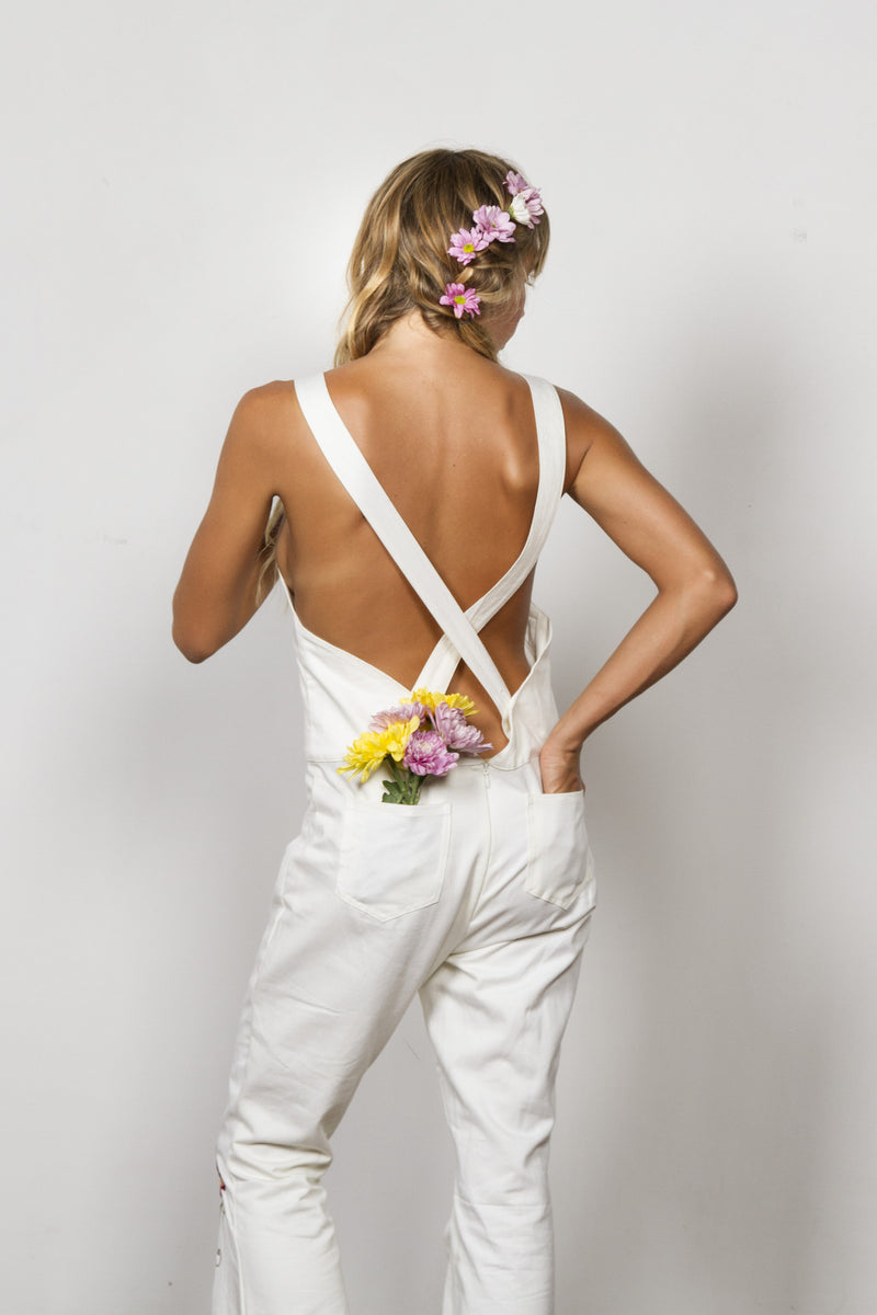'AT THE HEART OF IT' PINAFORE OVERALLS - IVORY