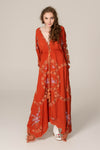 FILLYBOO - 'PRETTY POISON' - EMBROIDERED DUSTER/GOWN - RUST