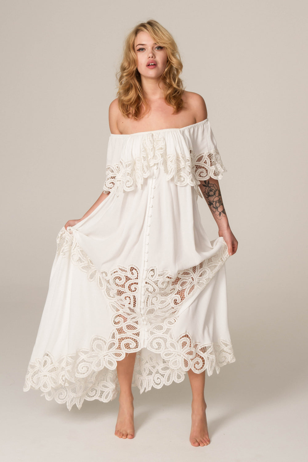 35ab69d679283e Fillyboo - Pretty Tuesday - Hand embroidered off-the-shoulder maxi dress