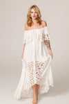 Fillyboo - Pretty Tuesday - Hand embroidered off-the-shoulder maxi dress