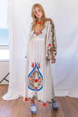 FILLYBOO - 'QUEEN OF HEARTS' - EMBROIDERED DRESS - IVORY LINEN