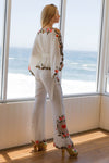 FILLYBOO - 'QUEEN OF HEARTS' - EMBROIDERED PANTS - IVORY LINEN