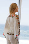 FILLYBOO - 'QUEEN OF HEARTS' - EMBROIDERED TOP - IVORY LINEN