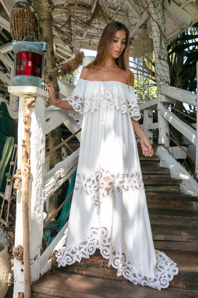 FILLYBOO - 'PRETTY TUESDAY' - HAND EMBROIDERED OFF-SHOULDER DRESS - IVORY