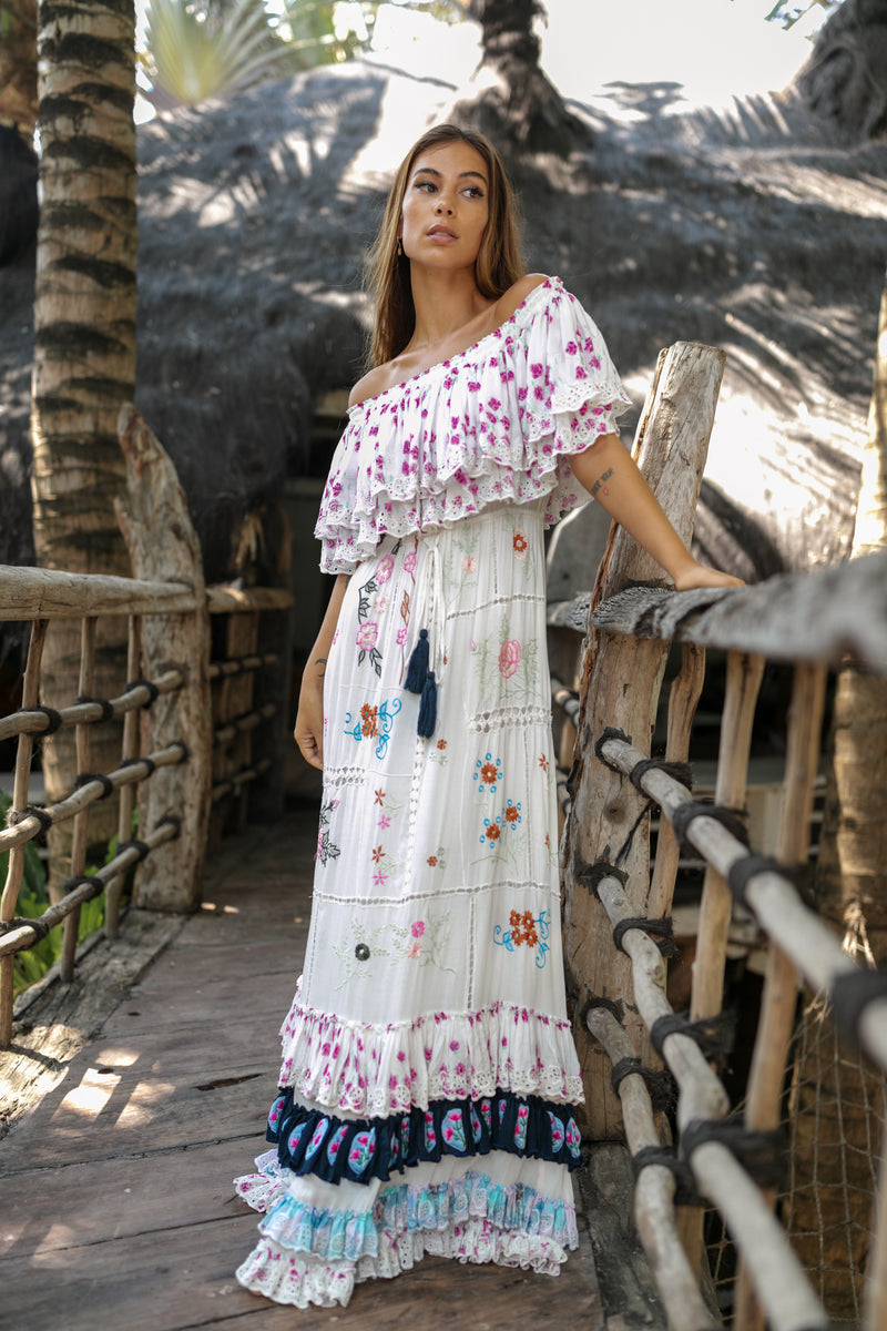 'PATCHWORK POPPY' - OFF-SHOULDER MAXI DRESS