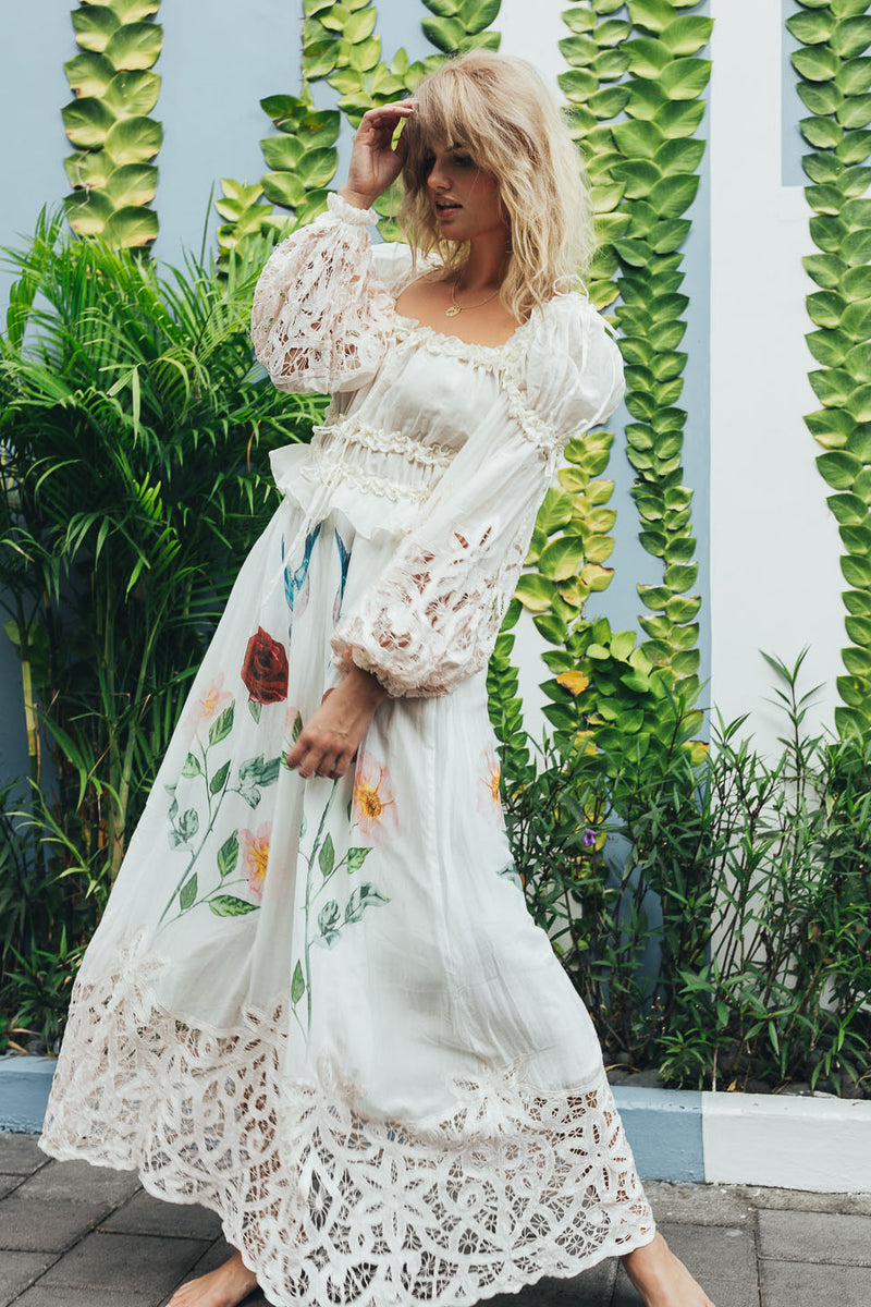 Fillyboo - Roses Lately embroidered maxi dress