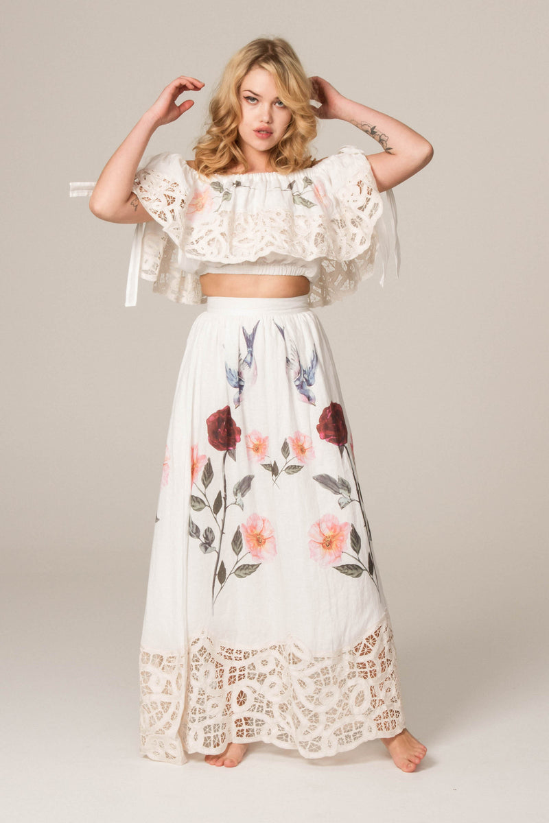FILLYBOO - 'ROSES LATELY' - EMBROIDERED SKIRT