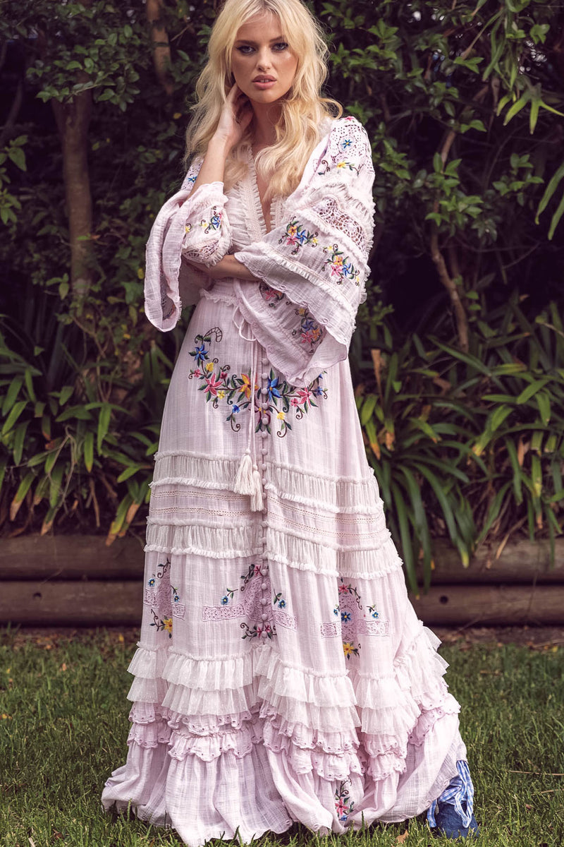 Charm Your Way - Embroidered maxi dress/duster - Rosey Tea