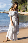 Daisy Island - Batik & embroidered maxi skirt - Periwinkle
