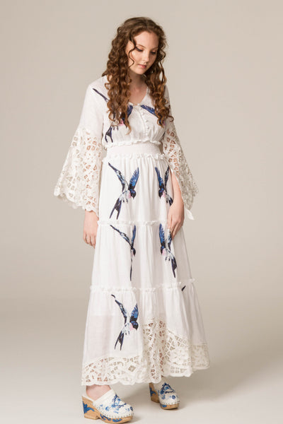 FILLYBOO - 'SKIES ARE BLUE' - HAND EMBROIDERED DRESS - IVORY
