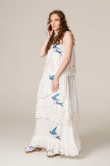 FILLYBOO - 'SOMEDAY SOON' - HAND EMBROIDERED TRAPEZE DRESS - IVORY