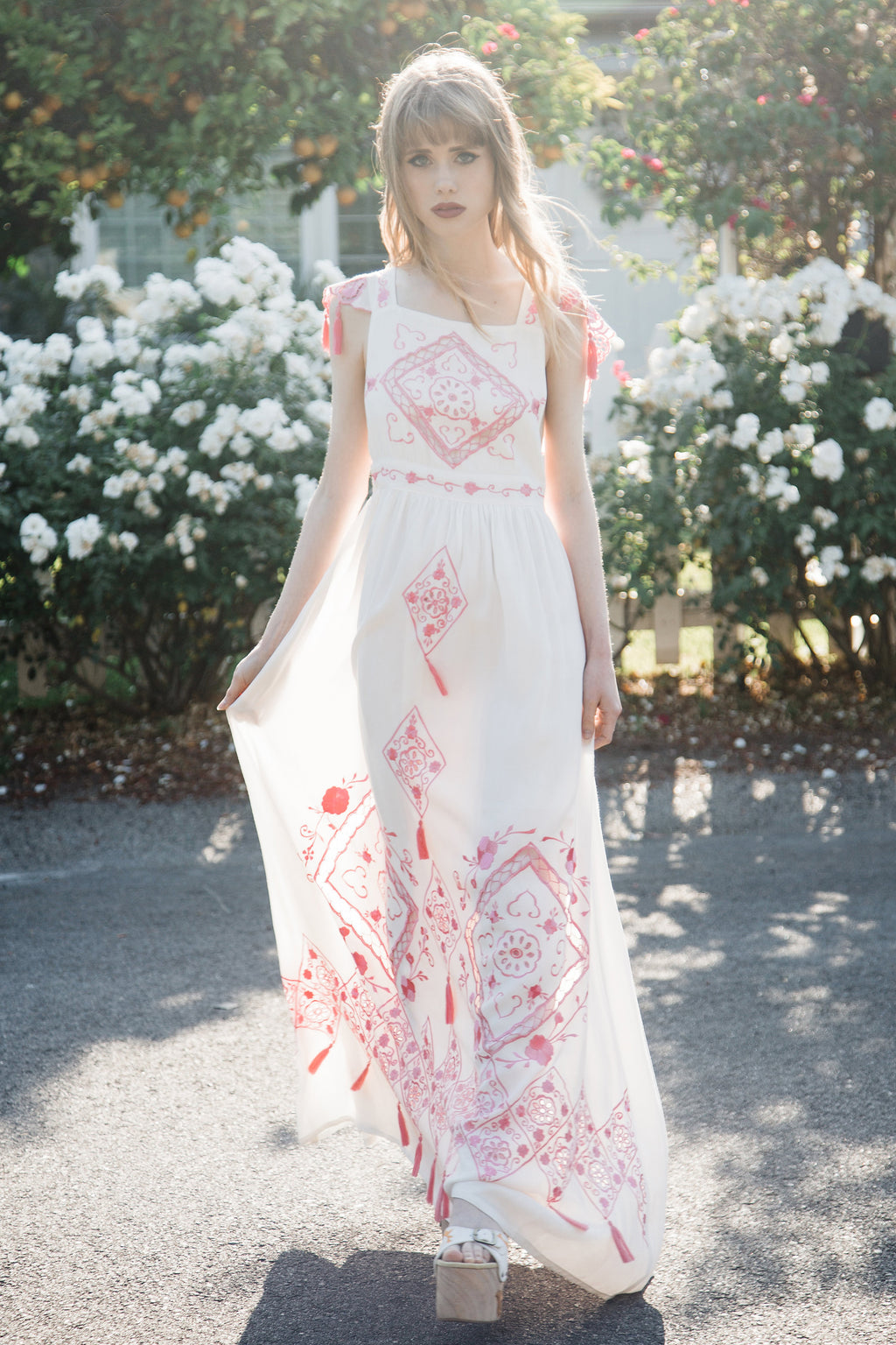 LOVE ON TIME' - EMBROIDERED MAXI DRESS
