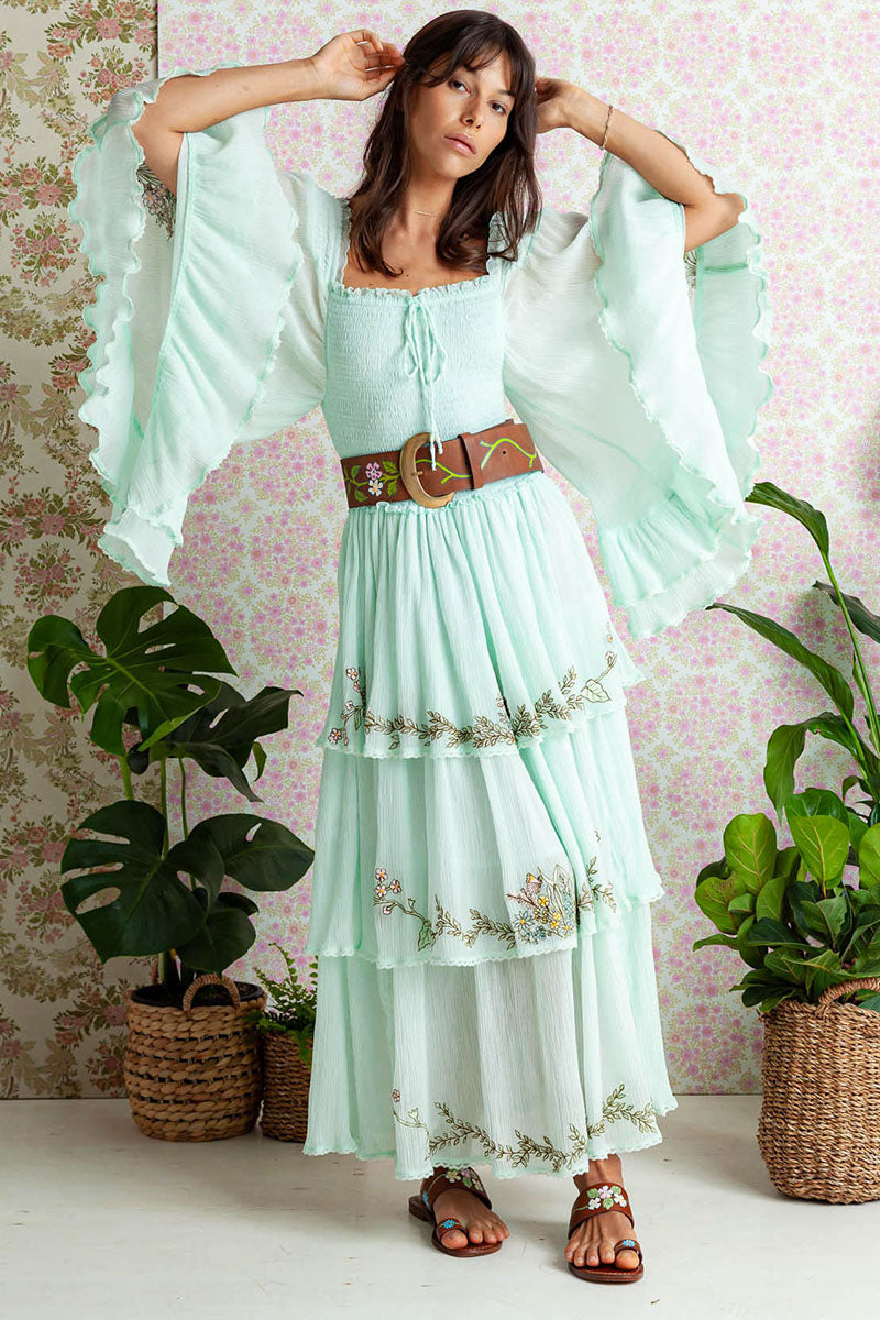 Sweet Pea - Cascading Maxi Dress in Sprout