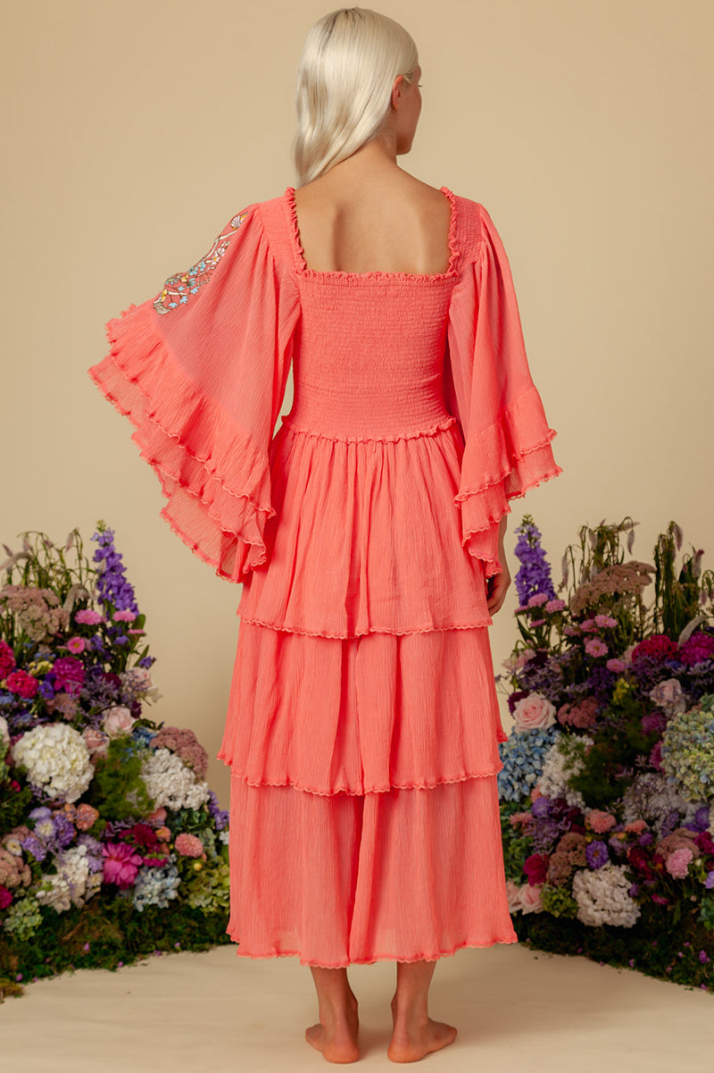 Sweet Pea - Cascading Maxi Dress in Sugar Coral