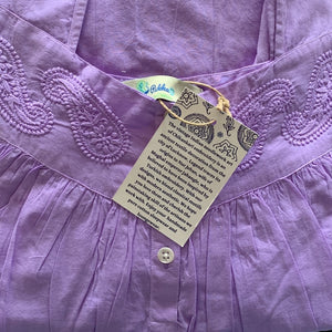 Hand embroidered cotton nightie detail in jacaranda purple colour with paisley embroidery