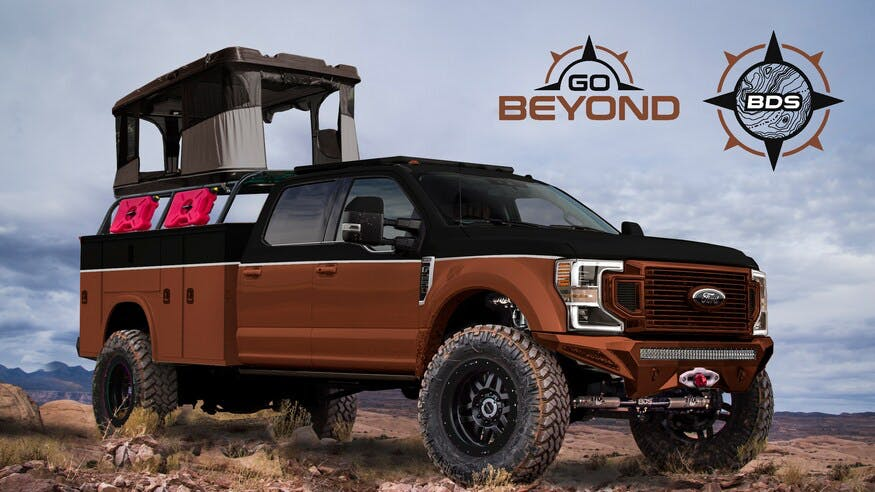 Side view of modified Ford Truck