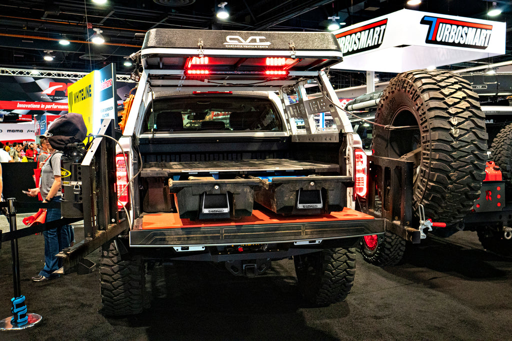 Rear shot of DECKED system in a tricked out truck