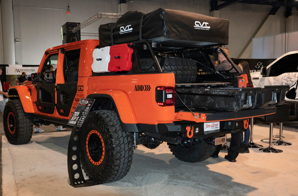 Side shot of orange Jeep Gladiator