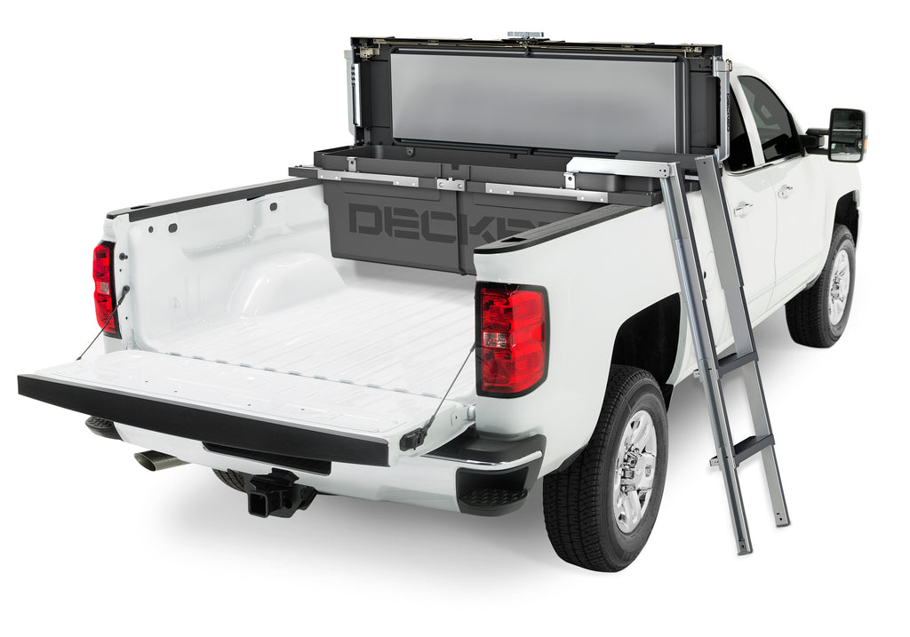 New DECKED tool box in bed of white truck