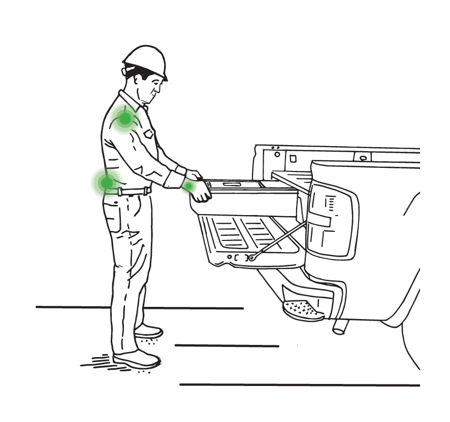 "Having an ergonomically favorable work environment saves time and money and leads to healthier, more productive workers. DECKED reduces trips in and out of vehicles putting essential items in the ""power zone"" between the waist and shoulders."