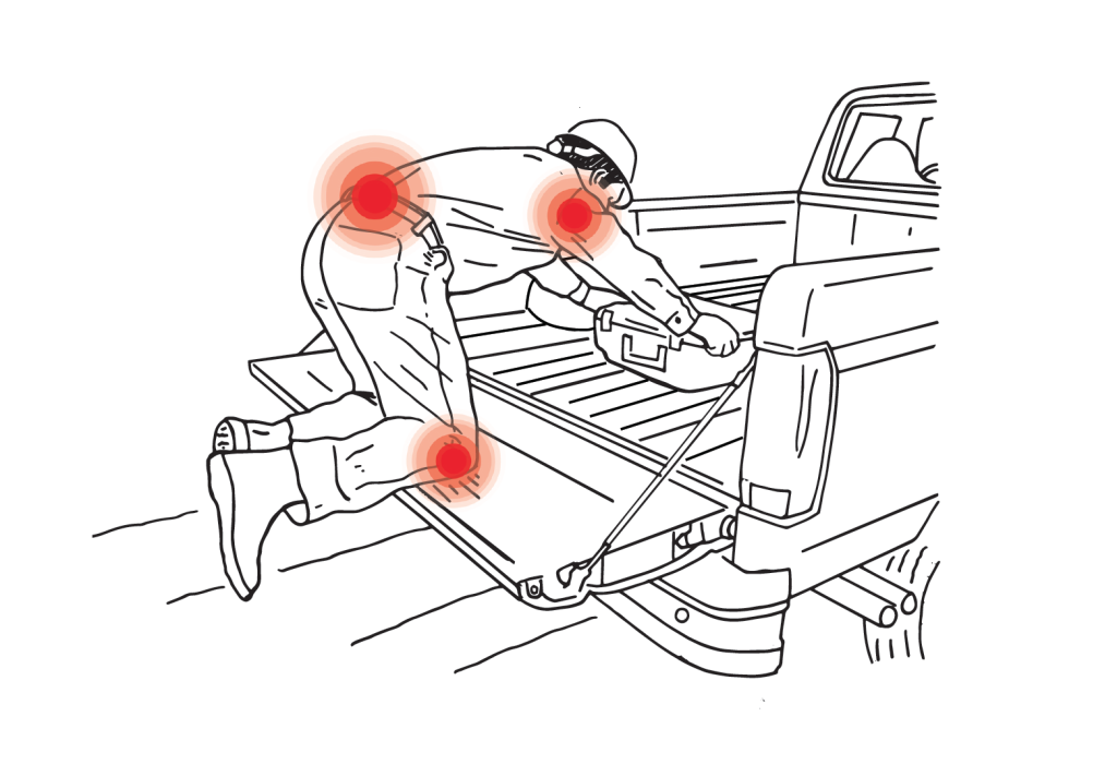 Working out of trucks and vans invites the gamut of poor ergonomic situations as well as time wasted crawling into vehicles or digging around in cross-over toolboxes to access needed items. Over time these situations can lead to over-use injuries and missed time at work.
