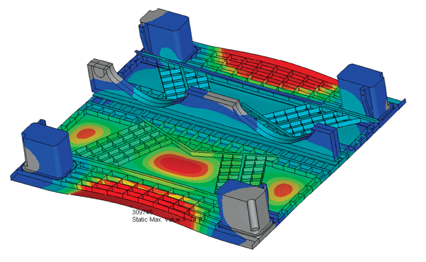 Simulation of the original design show potential areas for cracking, which were engineered out in the revised design. Image courtesy of Altair ProductDesign.