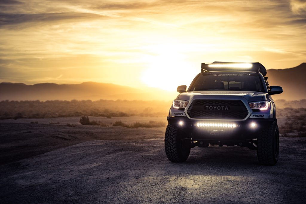 Toyota Tacoma during the sunset.