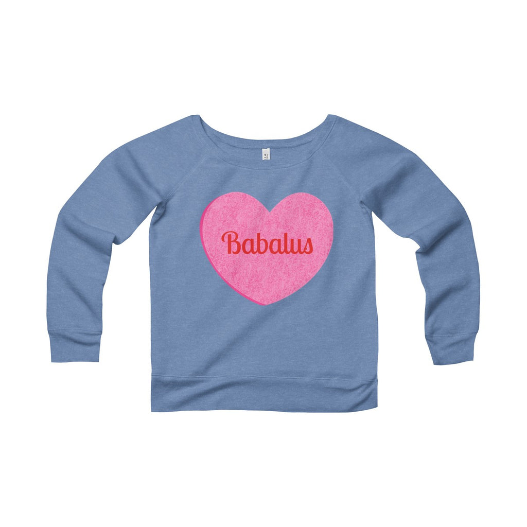 Babalus Valentines Conversation Hearts Women's Sponge Fleece Wide Neck Sweatshirt