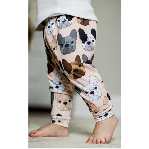 READY TO SHIP - French Bulldog on Peach Print Leggings