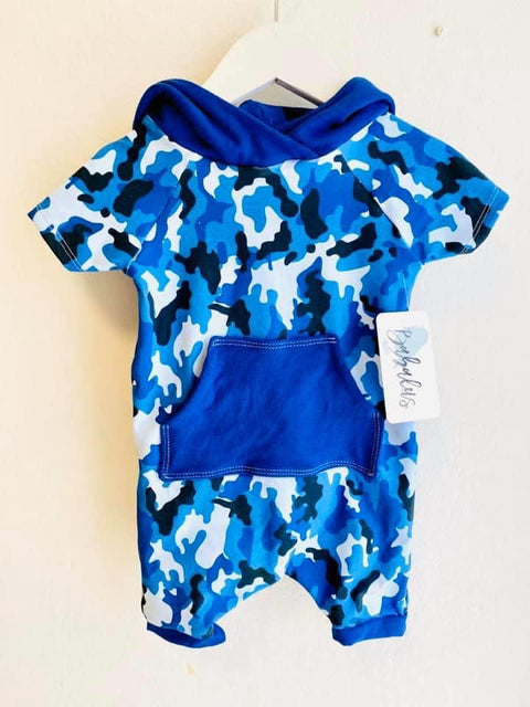 Blue Camouflage Shorts Romper