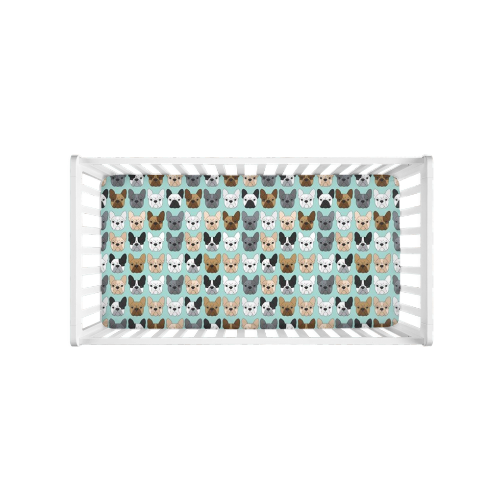 French Bulldogs On Blue Crib Sheet