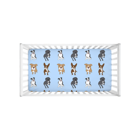 Pitbulls on Blue Crib Sheet