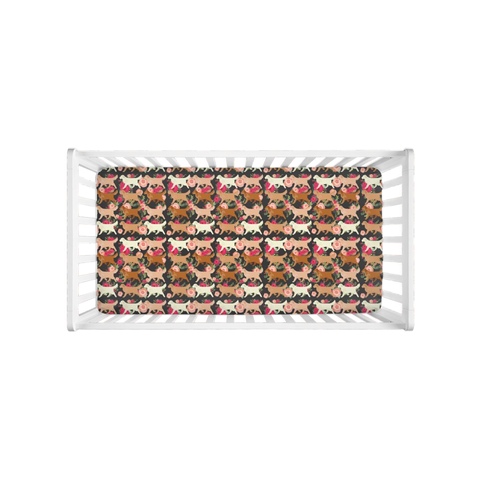 Floral Golden Retriever Crib Sheet
