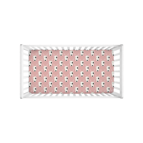 Bull Terrier Faces on Pink Crib Sheet