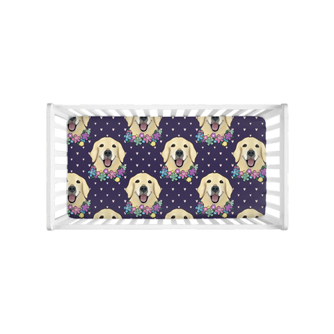 Floral Golden Retriever Faces Crib Sheet