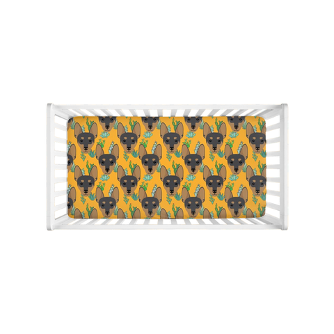 Miniature Pinscher Min Pin Yellow Crib Sheet