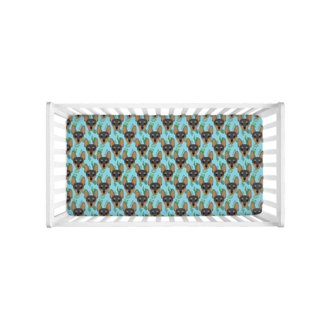 Miniature Pinscher Min Pin Aqua Succulent Crib Sheet