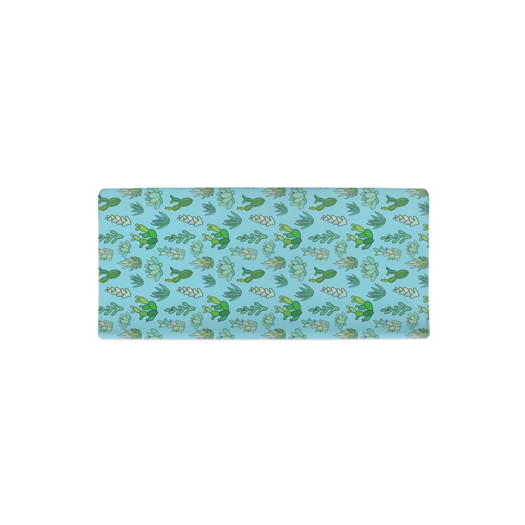 Blue Succulent Changing Pad Cover