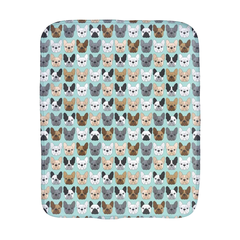 French Bulldog on Blue Burp Cloth