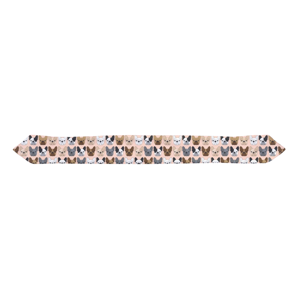 French Bulldog Faces on Peach Infant & Toddler Top Knot Headband