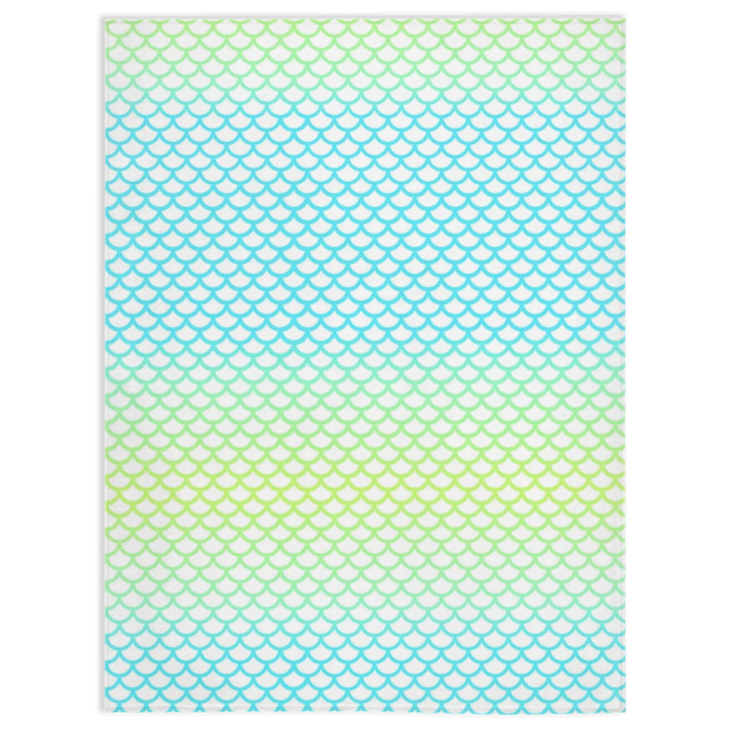 Aqua Lime Mermaid Scale Blanket