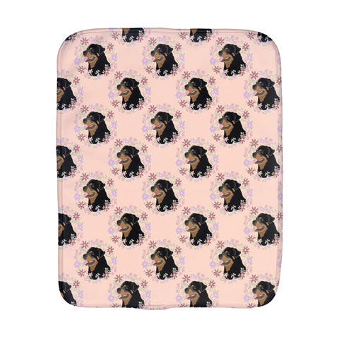 Floral Rottweiler Burp Cloth