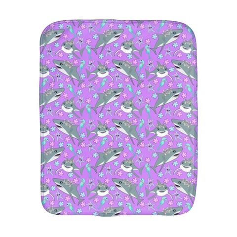 Floral Sharks Burp Cloth