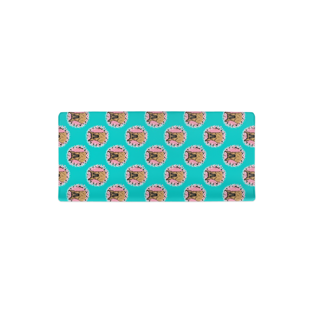 Teal Floral German Shepherd Changing Pad Cover