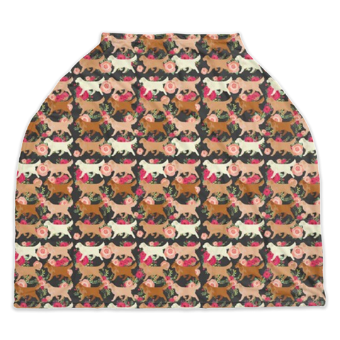 Floral Golden Retriever Car Seat/ Nursing Cover